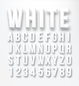 Flat letters and numbers color white in vector format