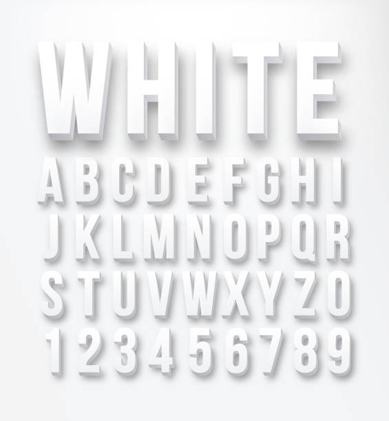 Flat font alphabet vector Flat letters and numbers color white in vector format three dimensional stock illustrations