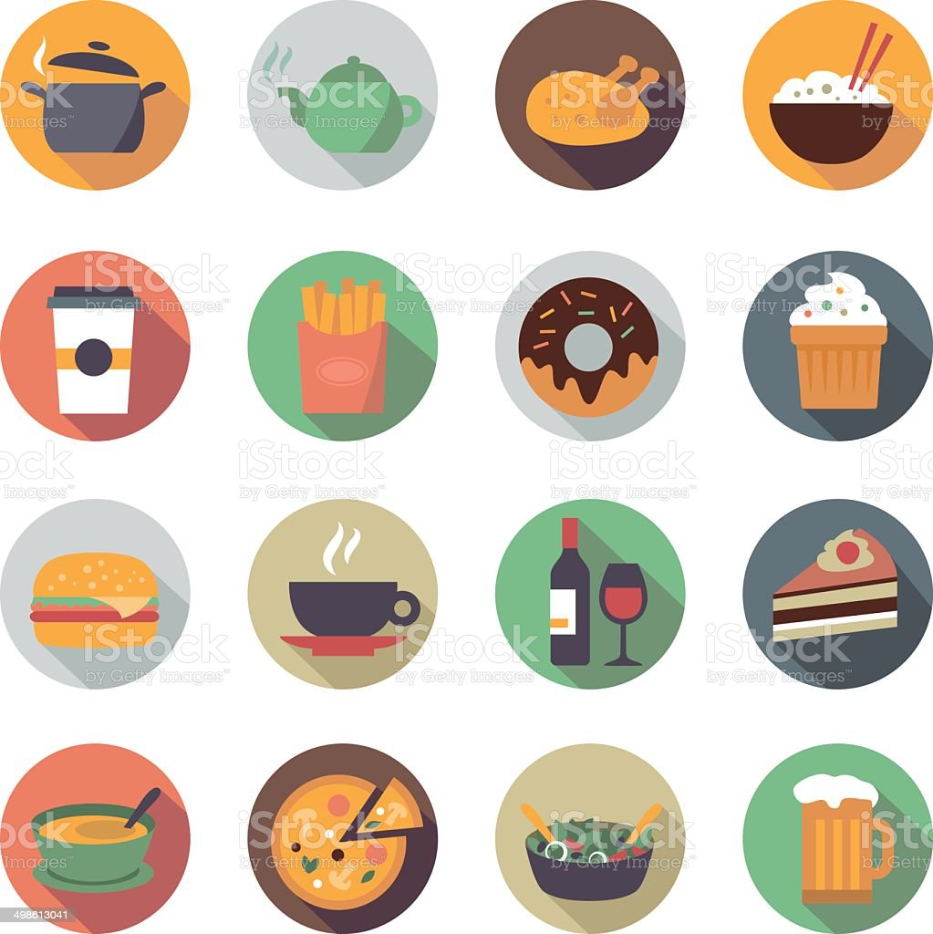 Flat Food Icons in Circles vector art illustration