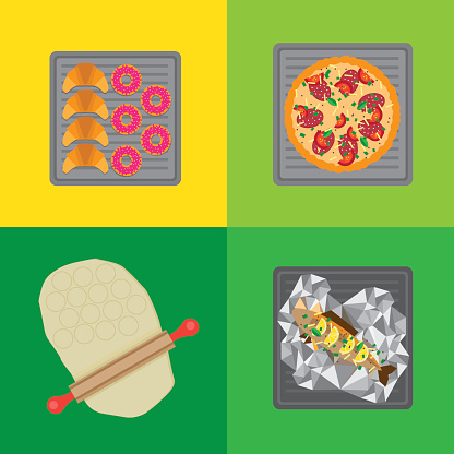 Flat food icons on a baking sheet