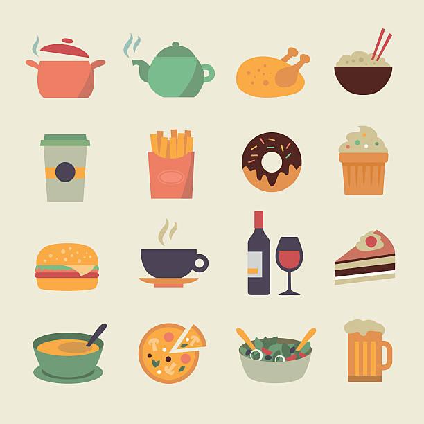 flache essen icons - hamburger schnellgericht stock-grafiken, -clipart, -cartoons und -symbole