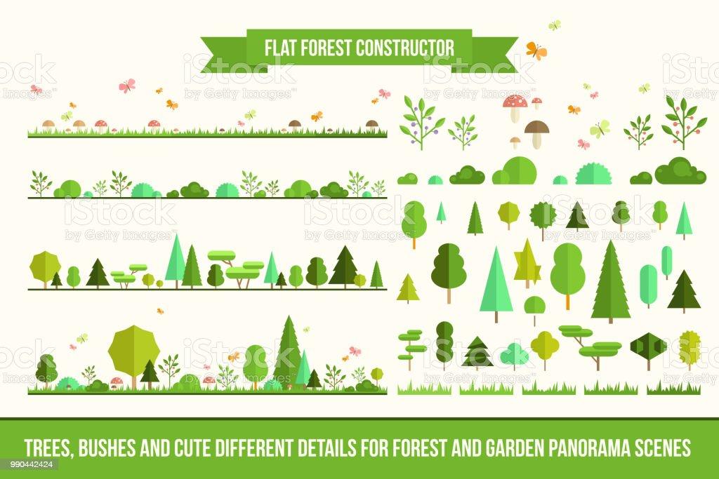 Constructeur de forêt plate constructeur de forêt plate vecteurs libres de droits et plus d'images vectorielles de activité de loisirs libre de droits