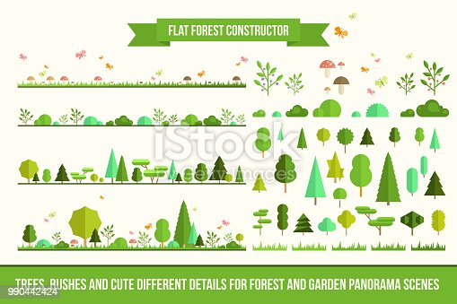 Create your own forest - flat constructor kit. Huge collection of infographic vector elements. Set of trees, bushes, florals and different details for nature landscape panorama scenes, app and game design