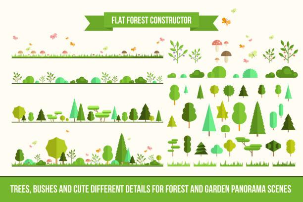 bildbanksillustrationer, clip art samt tecknat material och ikoner med platt skog konstruktören - forest