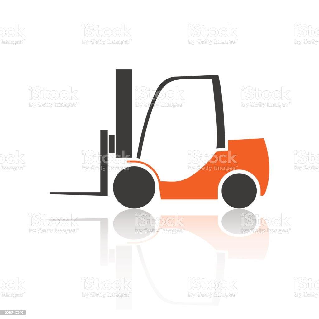 Flat forklift icon, vector illustration.
