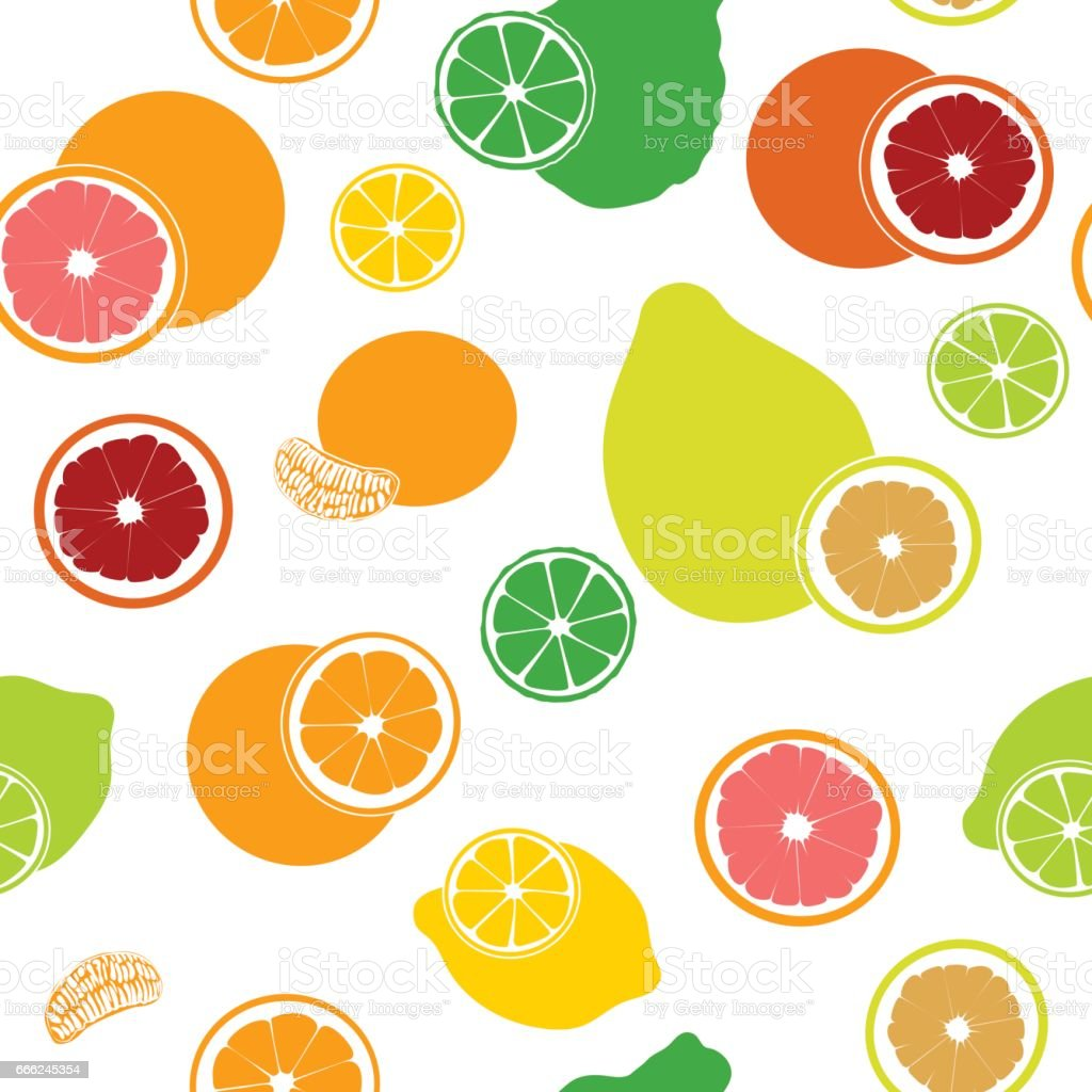 Flat fresh Citrus seamless pattern. Bergamot, lemon, grapefruit, lime, mandarin, pomelo, orange, blood orange with slices vector art illustration