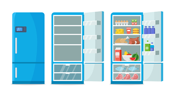 Flat fridge vector. Closed and open empty refrigerator. Blue fridge with healthy food, water, meet, vegetables