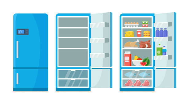 Flat fridge vector. Closed and open empty refrigerator. Blue fridge with healthy food, water, meet, vegetables Flat fridge vector. Closed and open empty refrigerator. Blue fridge with healthy food, water, meet, vegetables. Illustration fridge with food or shelf empty refrigerator stock illustrations