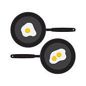 Flat fried egg on pan. Omelet vector illustration.