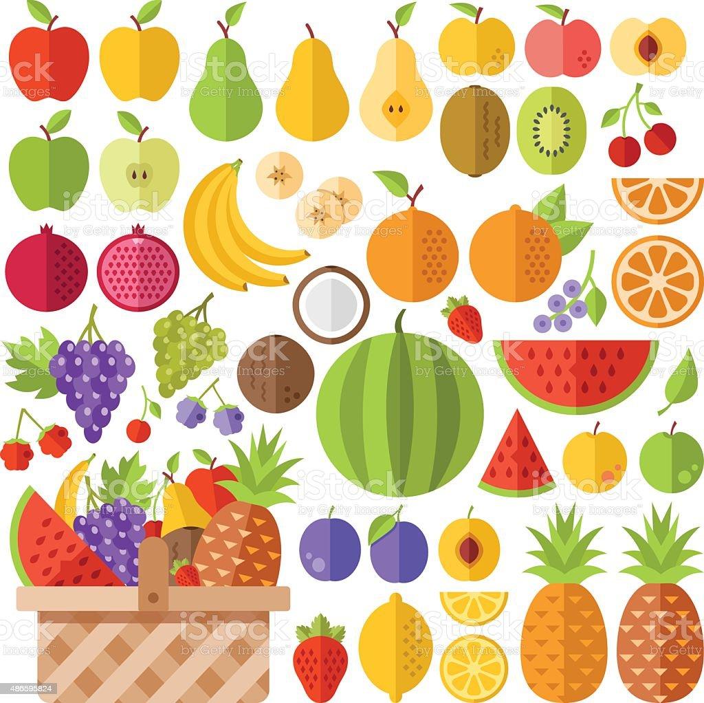 Flat fruits icons set. Creative vector flat icons