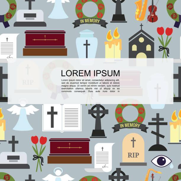 stockillustraties, clipart, cartoons en iconen met platte begrafenis gekleurde pictogrammen naadloze patroon - funeral crying