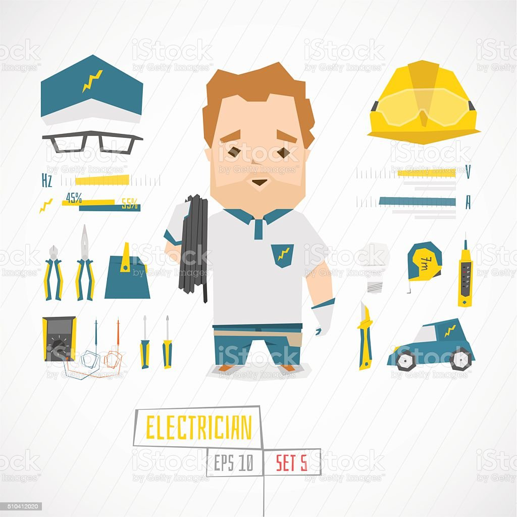 Flat funny charatcer electrician vector art illustration