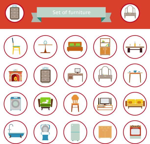 möbel flache symbole isoliert set für wohnzimmer - leinensofa stock-grafiken, -clipart, -cartoons und -symbole