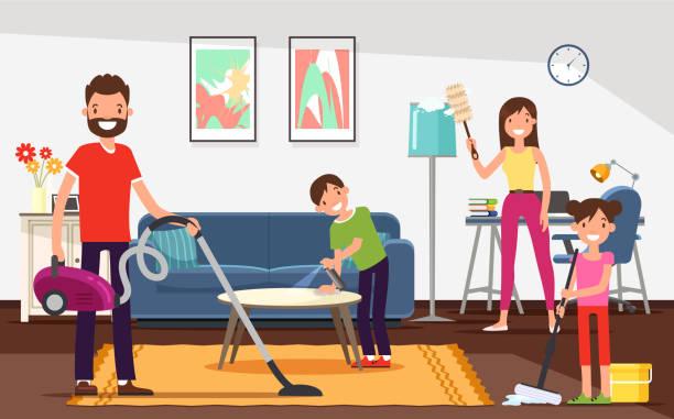 stockillustraties, clipart, cartoons en iconen met platte algemene huis schoonmaken vector illustratie. - opruimen