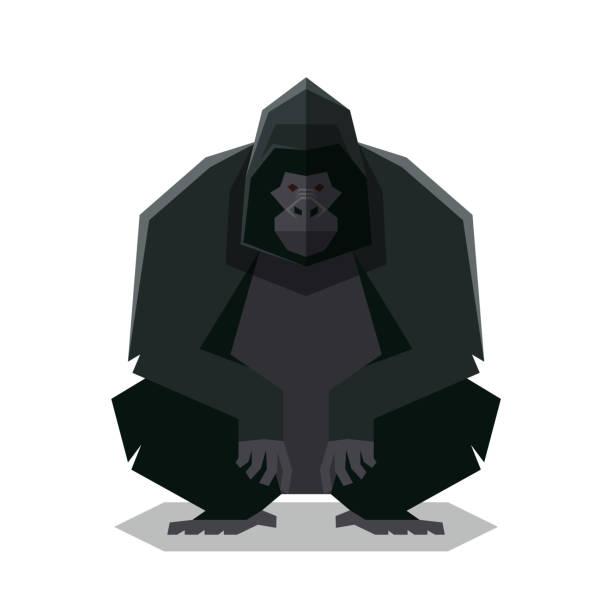 flat geometric gorilla - gorilla stock illustrations
