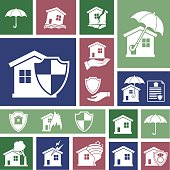 Flat Geometric Homeowners Insurance Icon Set. Simple flat colored silhouette. Various icons representing different damage situations such as storms, tornado, house fires and floods.