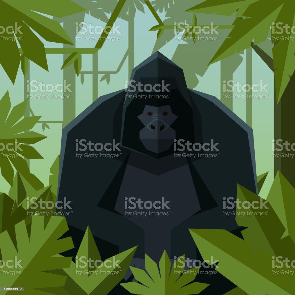 Flat geometric jungle background with Gorilla Vector image of the Flat geometric jungle background with Gorilla Animal stock vector