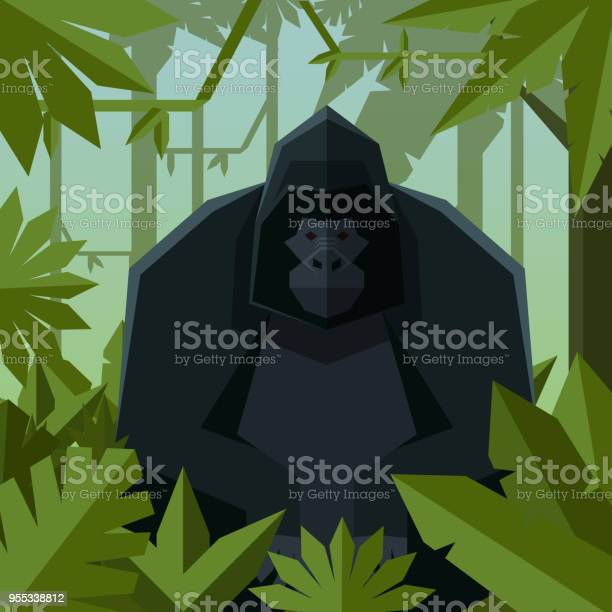 Flat Geometric Jungle Background With Gorilla Stock Illustration - Download Image Now