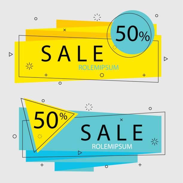 bildbanksillustrationer, clip art samt tecknat material och ikoner med plana geometriska vektorn banners. trendiga .abstract bakgrund - blue yellow band