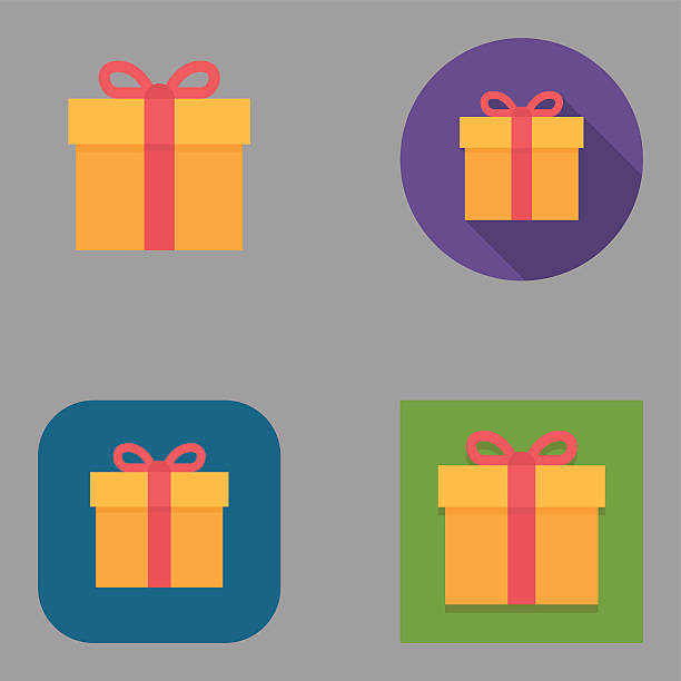 Flat Gift Box icons | Kalaful series Flat gift box icon set over different background shapes and colors. gifts stock illustrations