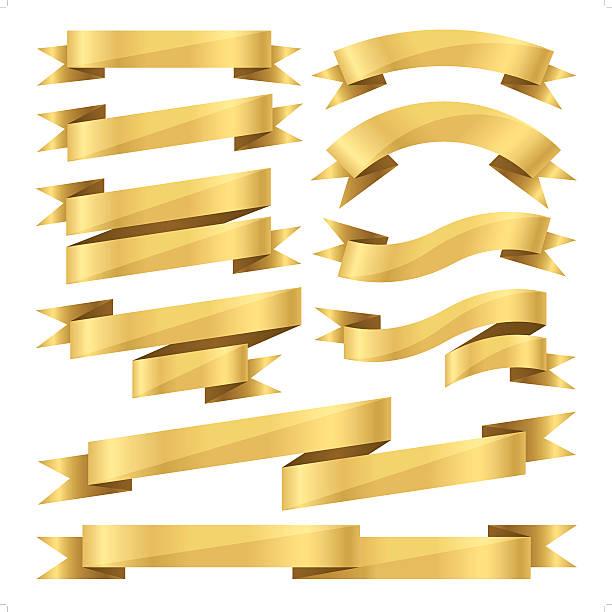 flat gold ribbon set vector art illustration