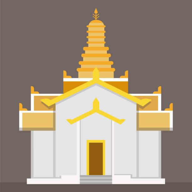 wohnung gold thai tempel vektor mit braunem hintergrund. tempel-zeichen in einfachen vektor-illustration - ayutthaya stock-grafiken, -clipart, -cartoons und -symbole