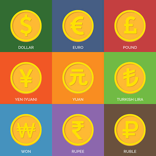 Flat Golden Coins. Currency Icons. Flat Golden Coins. Currency Icons. Vector illustration. taiwanese currency stock illustrations