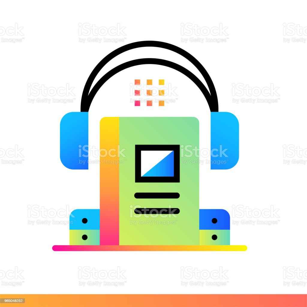 Flat gradient icon Audio book. Online education, e-learning. Suitable for print, interface, web, presentation royalty-free flat gradient icon audio book online education elearning suitable for print interface web presentation stock vector art & more images of design