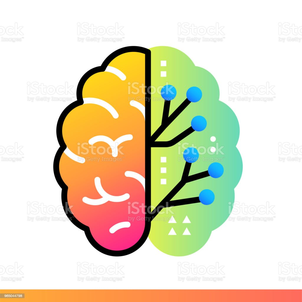Flat gradient icon Digital brain. Online education, e-learning. Suitable for print, interface, web, presentation flat gradient icon digital brain online education elearning suitable for print interface web presentation - stockowe grafiki wektorowe i więcej obrazów bez ludzi royalty-free