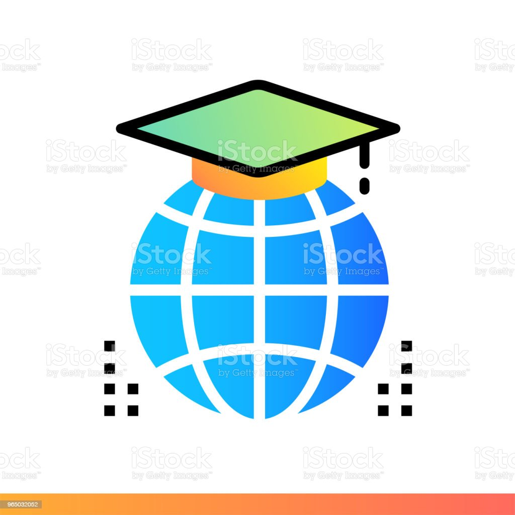 Flat gradient icon Distance education. Online education, e-learning. Suitable for print, interface, web, presentation royalty-free flat gradient icon distance education online education elearning suitable for print interface web presentation stock vector art & more images of book