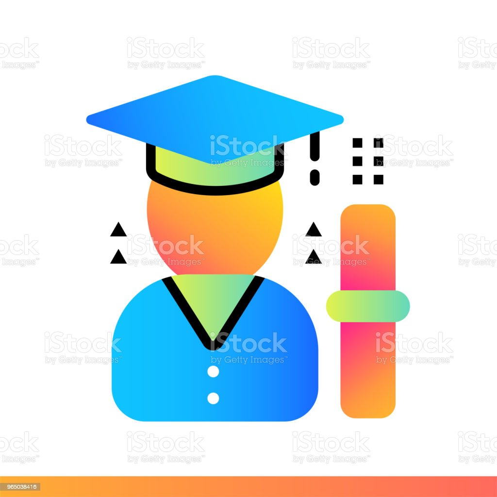 Flat gradient icon Identity verification. Online education, e-learning. Suitable for print, interface, web, presentation royalty-free flat gradient icon identity verification online education elearning suitable for print interface web presentation stock vector art & more images of design