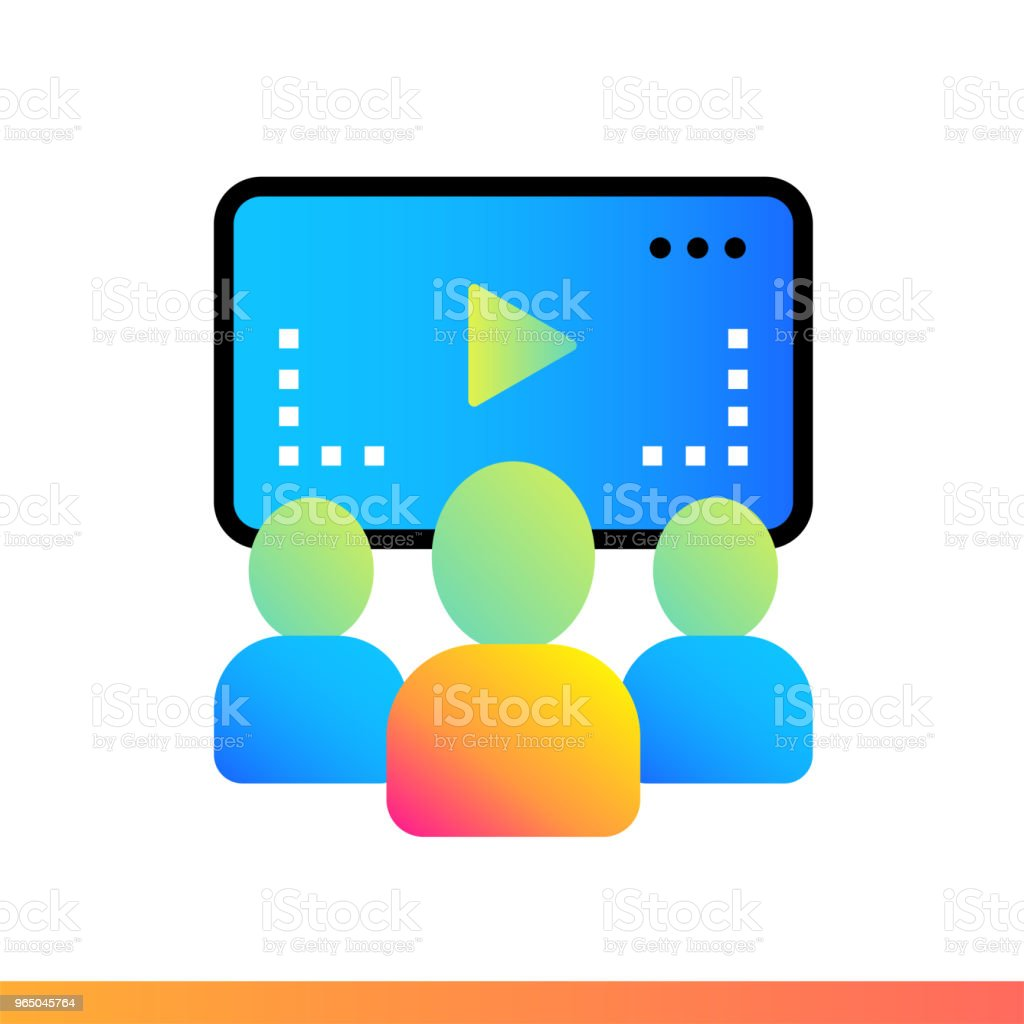 Flat gradient icon Online lecture. Online education, e-learning. Suitable for print, interface, web, presentation royalty-free flat gradient icon online lecture online education elearning suitable for print interface web presentation stock vector art & more images of design