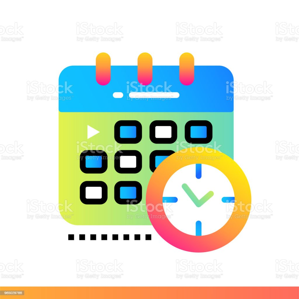 Flat gradient icon Schedule. Online education, e-learning. Suitable for print, interface, web, presentation royalty-free flat gradient icon schedule online education elearning suitable for print interface web presentation stock vector art & more images of design