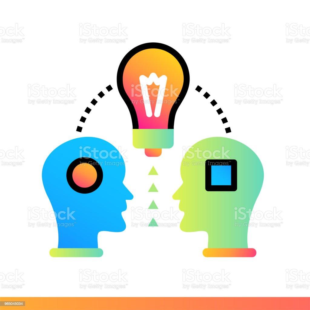 Flat gradient icon Share ideas. Education, e-learning. Suitable for print, interface, web, presentation flat gradient icon share ideas education elearning suitable for print interface web presentation - stockowe grafiki wektorowe i więcej obrazów e-learning royalty-free