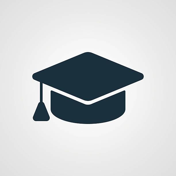stockillustraties, clipart, cartoons en iconen met flat graduation cap icon - flat cap