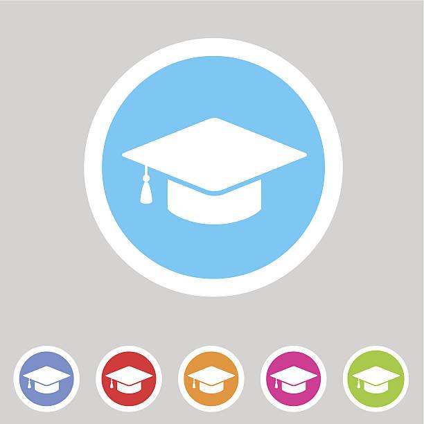 Flat graduation cap icon vector art illustration
