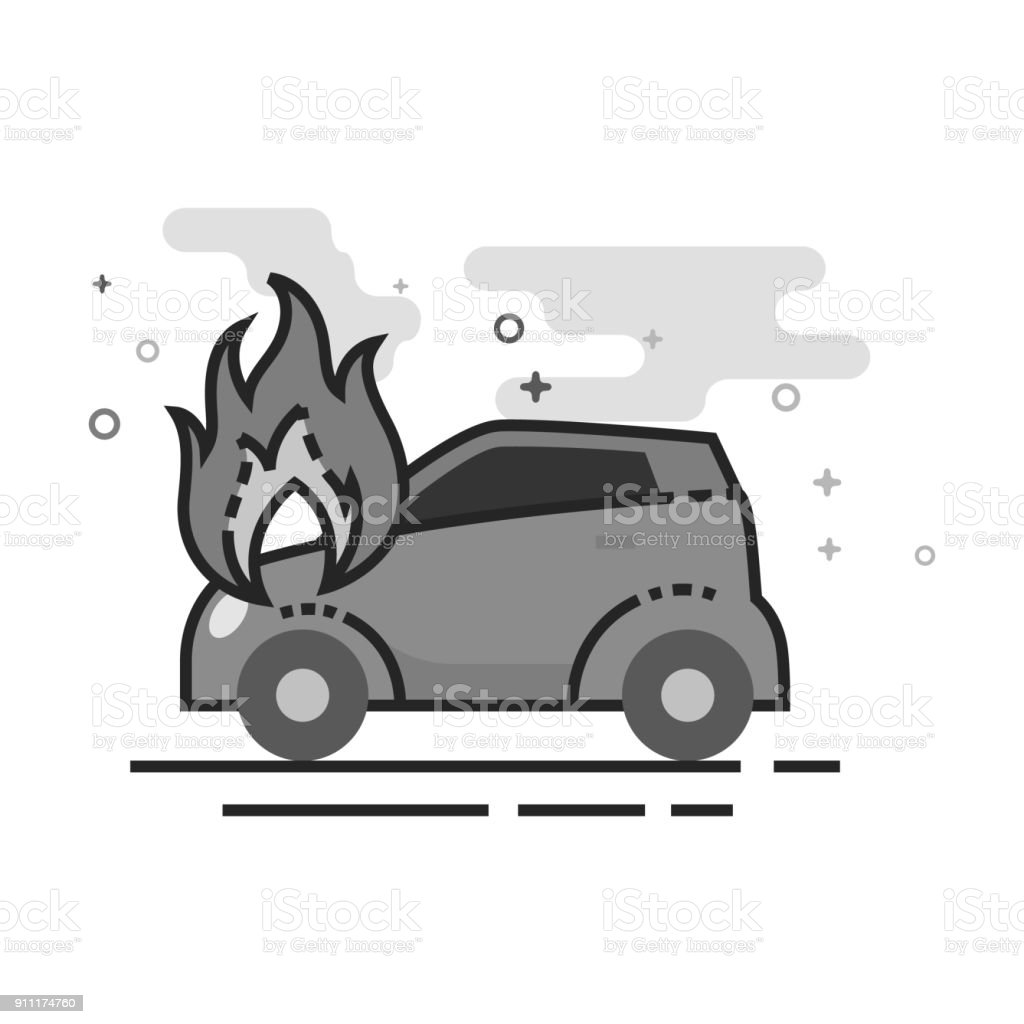 Flache Graustufen Symbol Auto In Brand Vektor Illustration 911174760 ...