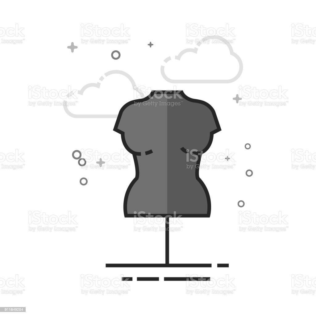 Flat Grayscale Icon - Mannequin vector art illustration