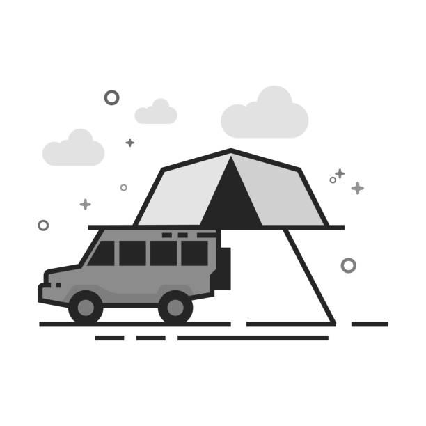 flache graustufen icon - mobile camping zelt - dachzelt stock-grafiken, -clipart, -cartoons und -symbole