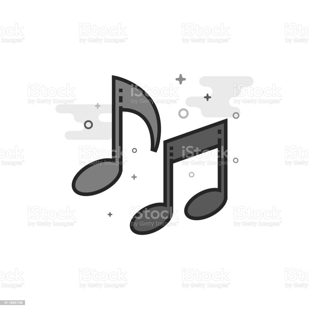 Flat Grayscale Icon - Music notes vector art illustration