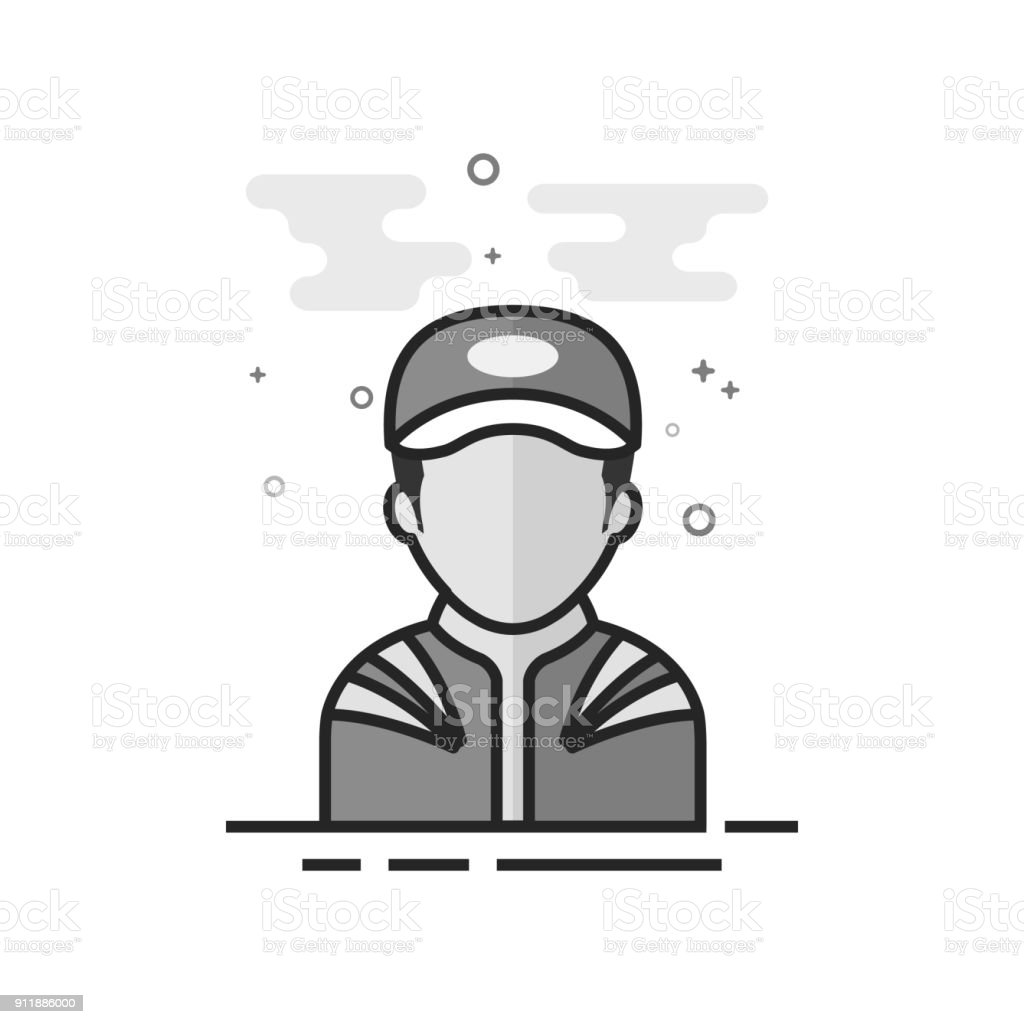Flat Grayscale Icon - Racer avatar vector art illustration