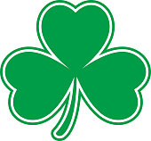 Vector illustration of a flat green cloverleaf with an outline around it.