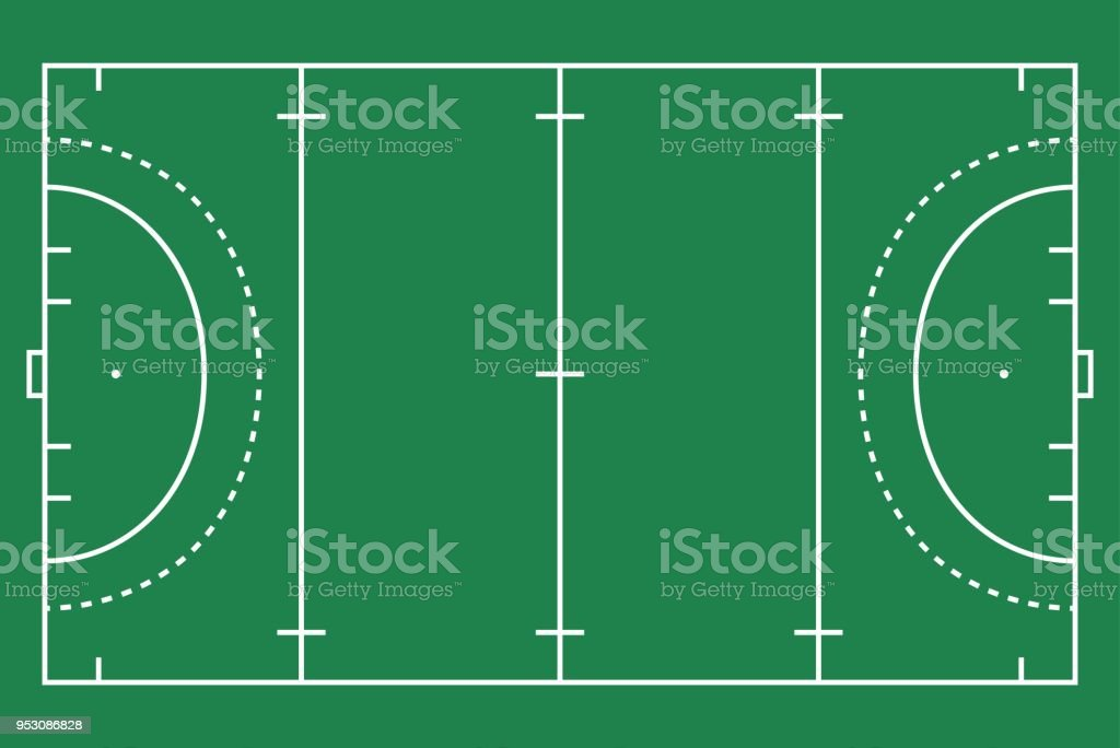 Flat Green Field Hockey Grass Hockey Field With Line Template Vector ...