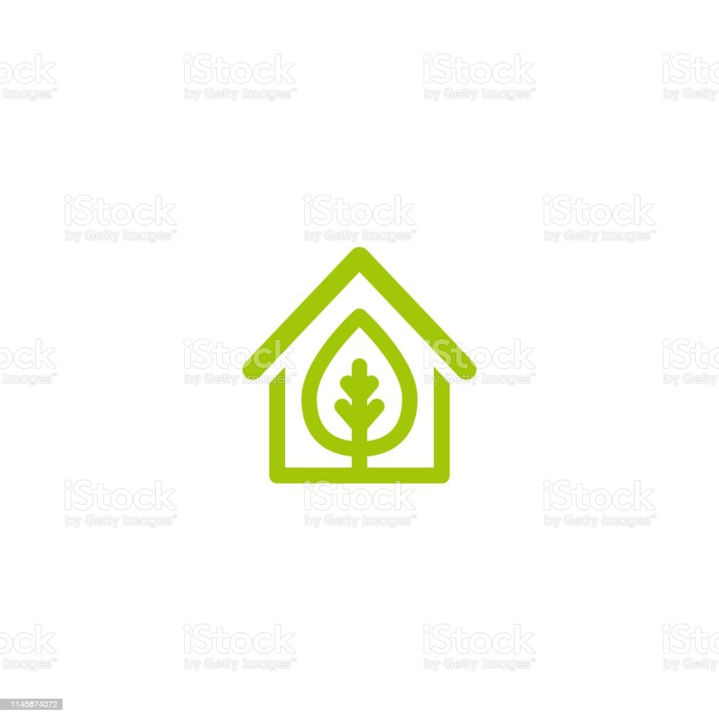 Enjoyable Flat Green Home With Green Leaf Inside Simple Silhouette Of Download Free Architecture Designs Scobabritishbridgeorg