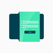 flat green login user interface template design