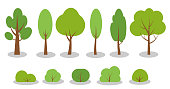 Set of flat green spring cartoon trees bushes icons. Simple different shape eco organic plant sign. Summer season forest, park, garden oak, birch, fir, symbol. Isolated on white vector illustration