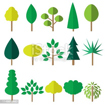 Flat green tree icons