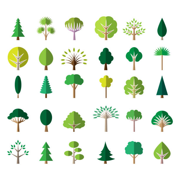 flat green tree icons - trees stock illustrations