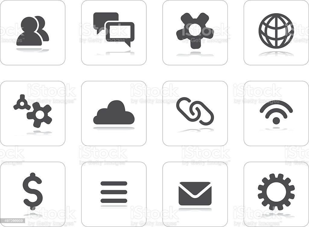 Flat grey icons vector art illustration