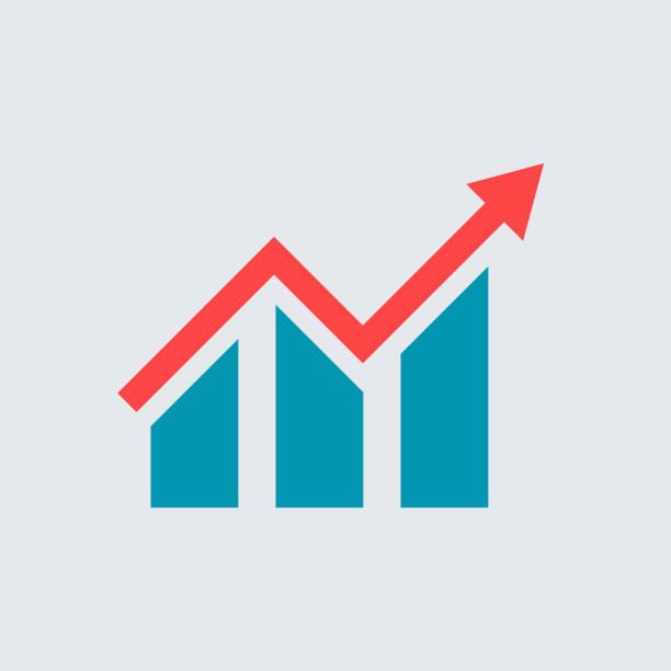 flach wachsende graph. balkendiagramm angezeigt. vektor icon - messlatte stock-grafiken, -clipart, -cartoons und -symbole